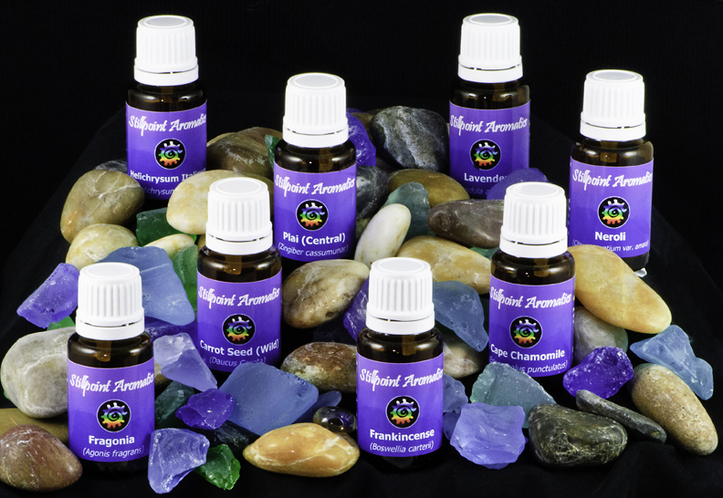 bottles of stillpoint aromatics essential oils